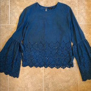 Style Envy Bell Sleeve Top Blue Medium Trendy